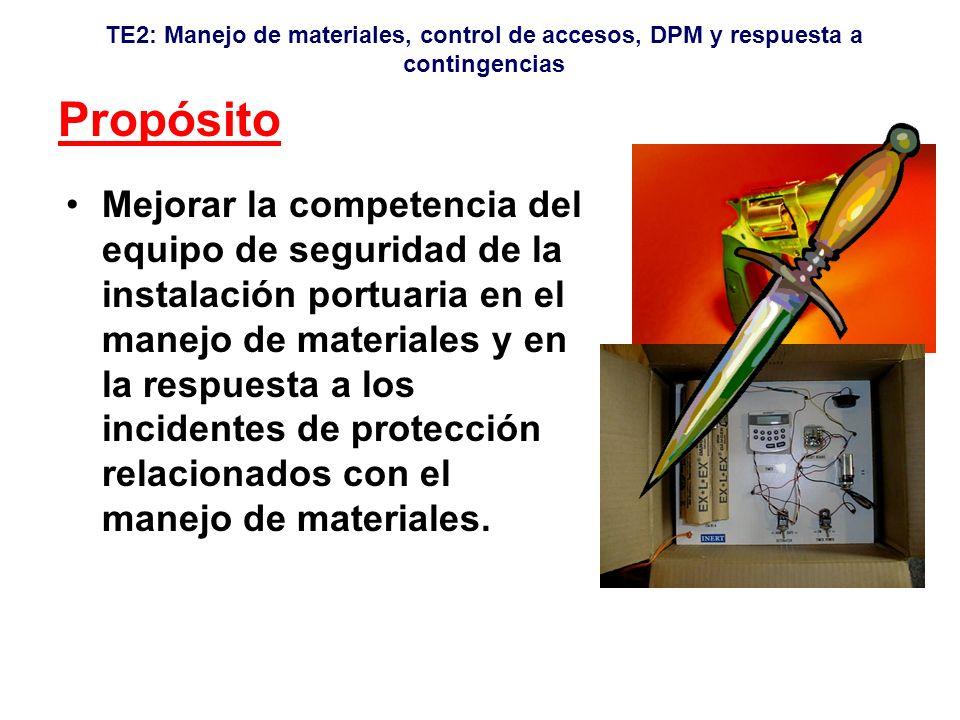 TE2: Manejo de materiales, control de accesos, DPM y respuesta a contingencias Propósito Mejorar la competencia del equipo de seguridad de la instalación portuaria en el manejo de materiales y en la respuesta a los incidentes de protección relacionados con el manejo de materiales.