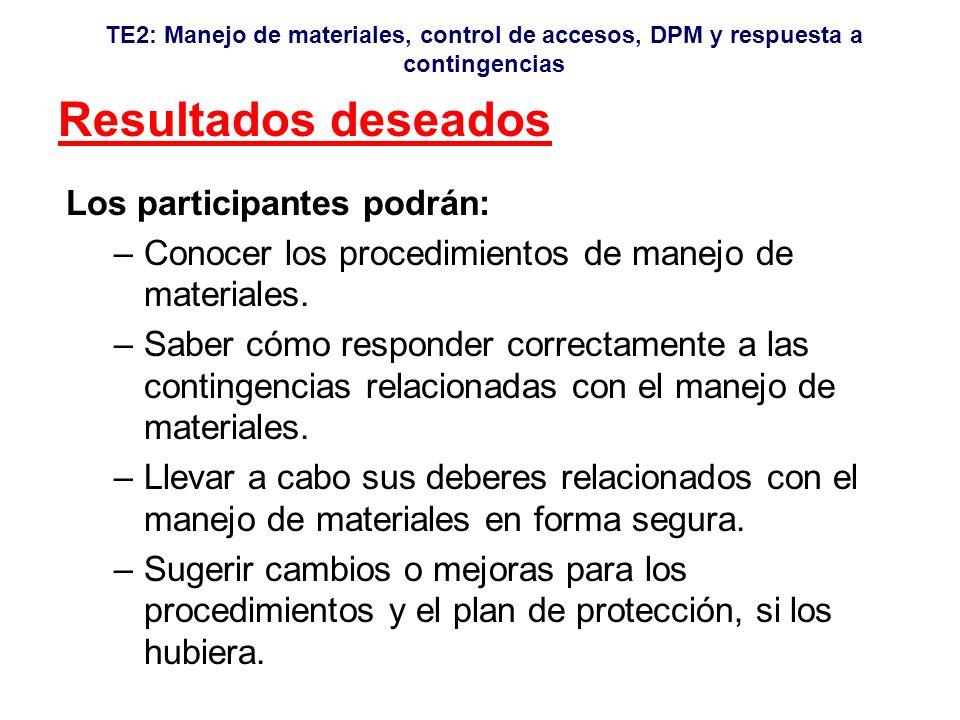 TE2: Manejo de materiales, control de accesos, DPM y respuesta a contingencias Resultados deseados Los participantes podrán: –Conocer los procedimientos de manejo de materiales.