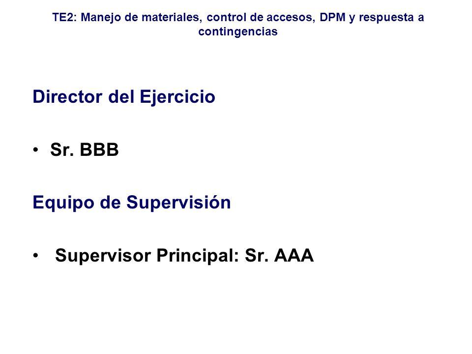 TE2: Manejo de materiales, control de accesos, DPM y respuesta a contingencias Director del Ejercicio Sr. BBB Equipo de Supervisión Supervisor Princip