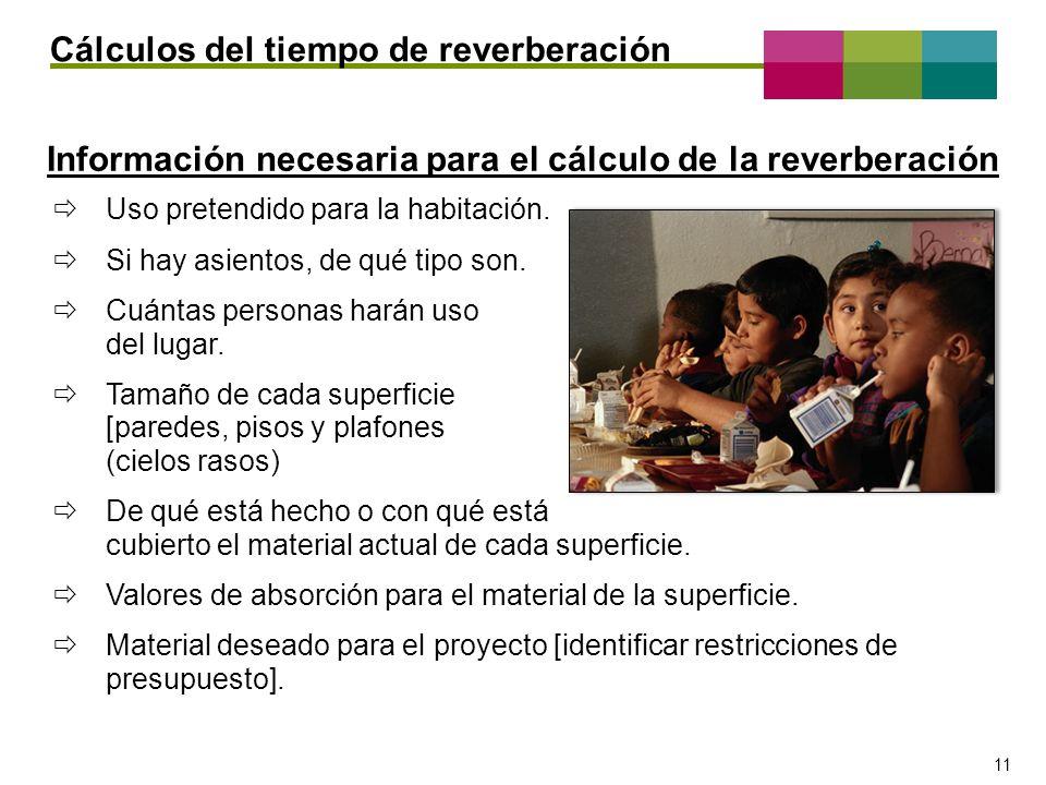 – 11 – 11 Cálculos del tiempo de reverberación Información necesaria para el cálculo de la reverberación Uso pretendido para la habitación. Si hay asi