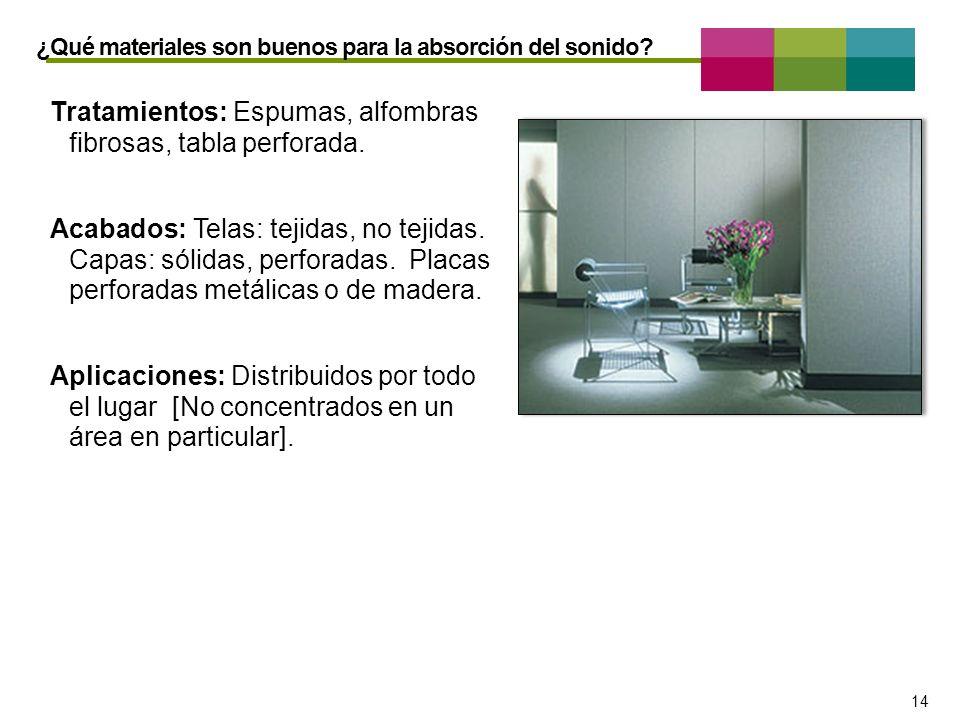 – 14 – 14 Tratamientos: Espumas, alfombras fibrosas, tabla perforada. Acabados: Telas: tejidas, no tejidas. Capas: sólidas, perforadas. Placas perfora