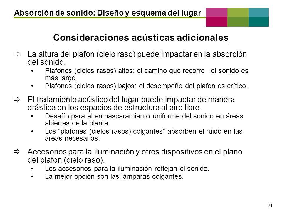 – 21 – 21 Consideraciones acústicas adicionales Absorción de sonido: Diseño y esquema del lugar La altura del plafon (cielo raso) puede impactar en la