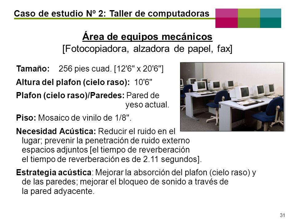 – 31 – 31 Área de equipos mecánicos [Fotocopiadora, alzadora de papel, fax] Tamaño: 256 pies cuad. [12'6