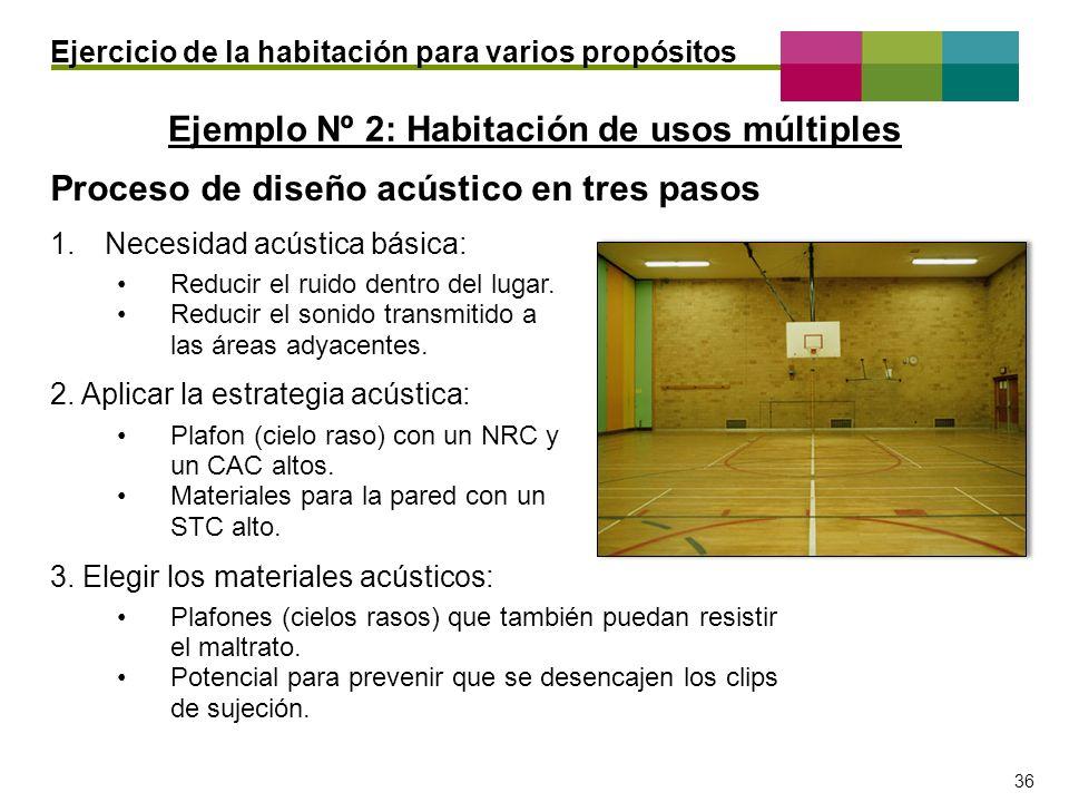 – 36 – 36 Ejemplo Nº 2: Habitación de usos múltiples Ejercicio de la habitación para varios propósitos Proceso de diseño acústico en tres pasos 1.Nece