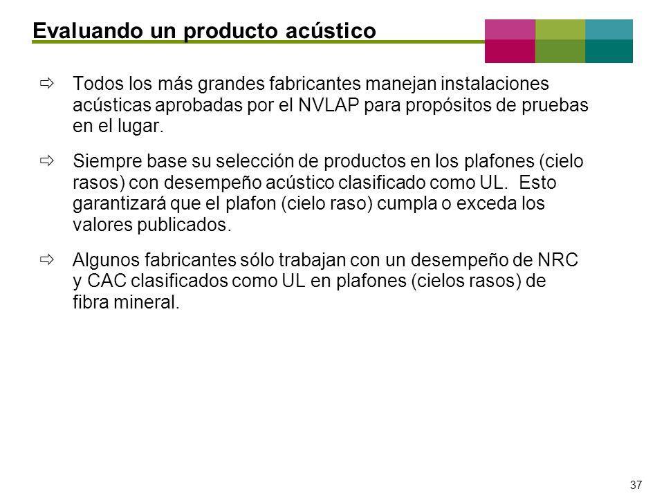 – 37 – 37 Todos los más grandes fabricantes manejan instalaciones acústicas aprobadas por el NVLAP para propósitos de pruebas en el lugar. Siempre bas