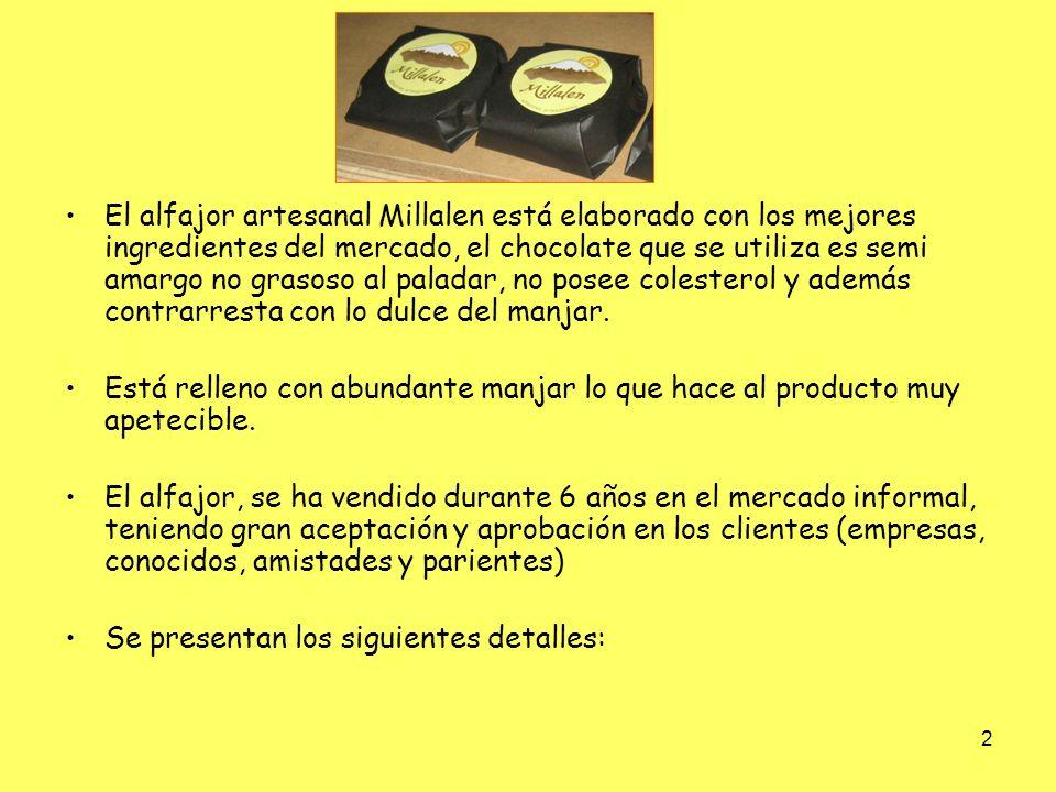 3 Característica del alfajor Autorización Seremi Salud RM Duración del Producto Características del envoltorio Gramaje Alfajor artesanal relleno de manjar y cubierto en chocolate danés semi amargo.