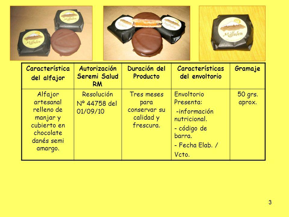 3 Característica del alfajor Autorización Seremi Salud RM Duración del Producto Características del envoltorio Gramaje Alfajor artesanal relleno de ma