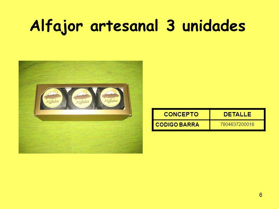 7 Alfajor Artesanal 6 unidades CONCEPTODETALLE EAN 7804637200023