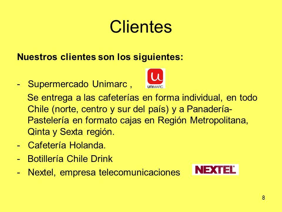 8 Clientes Nuestros clientes son los siguientes: - Supermercado Unimarc, Se entrega a las cafeterías en forma individual, en todo Chile (norte, centro