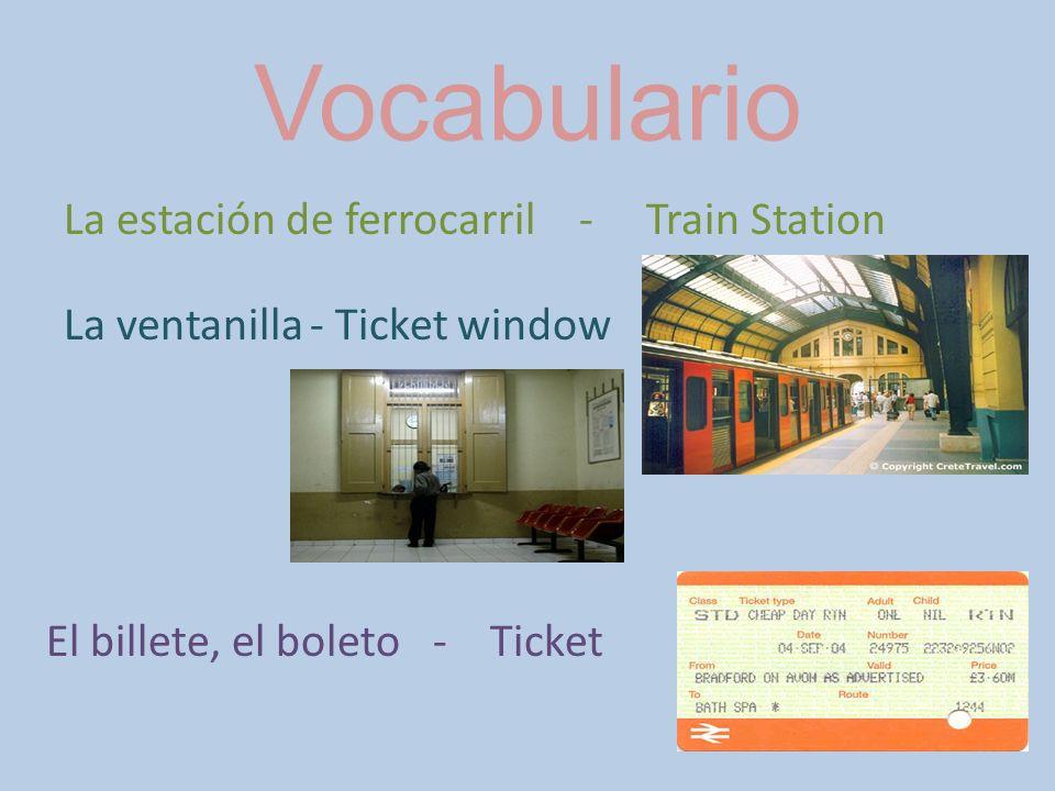 Vocabulario La estación de ferrocarril - Train Station La ventanilla - Ticket window El billete, el boleto - Ticket