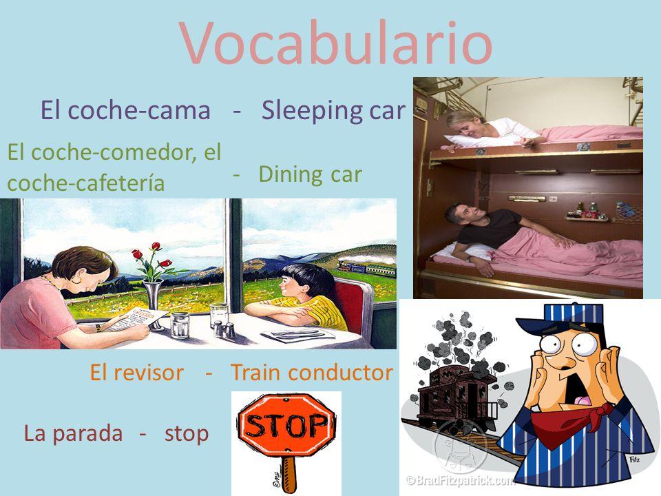 Vocabulario El coche-cama- Sleeping car El coche-comedor, el coche-cafetería - Dining car El revisor - Train conductor La parada- stop