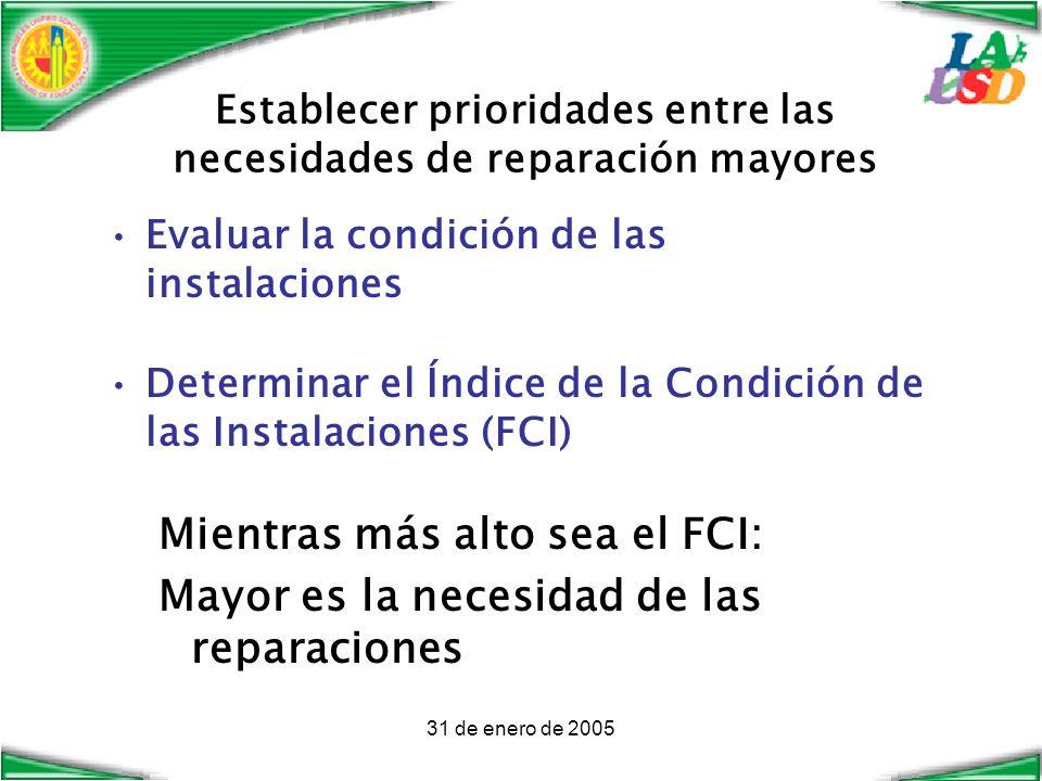 31 de enero de 2005 Establecer prioridades entre las necesidades de reparación mayores Evaluar la condición de las instalaciones Determinar el Índice de la Condición de las Instalaciones (FCI) Mientras más alto sea el FCI: Mayor es la necesidad de las reparaciones