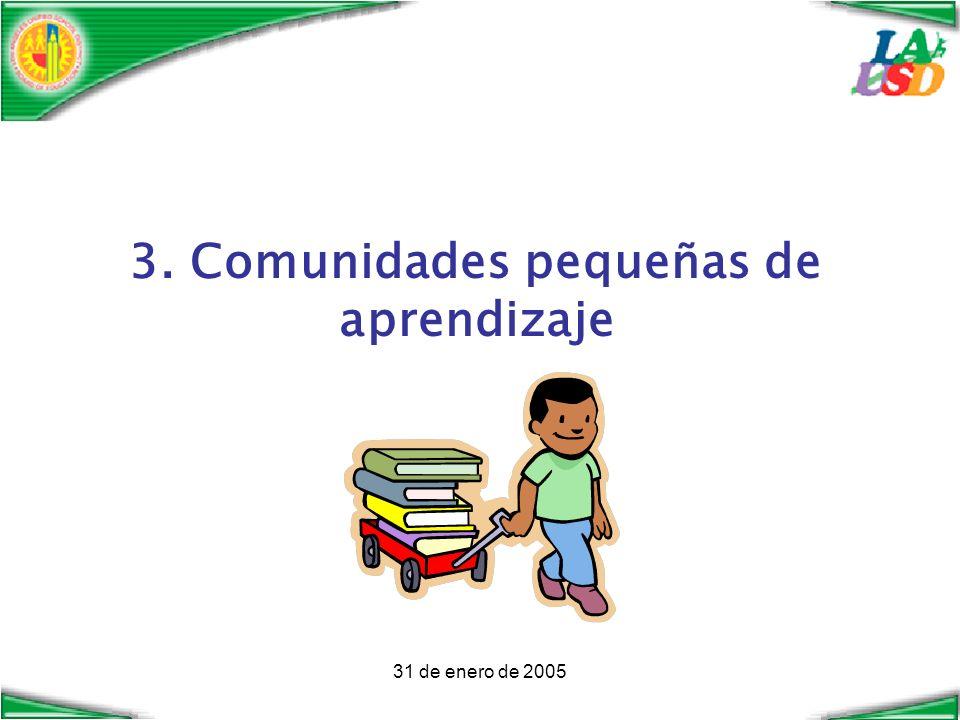 31 de enero de 2005 3. Comunidades pequeñas de aprendizaje