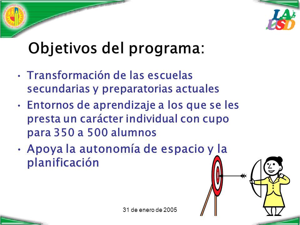 31 de enero de 2005 Objetivos del programa: Transformación de las escuelas secundarias y preparatorias actuales Entornos de aprendizaje a los que se les presta un carácter individual con cupo para 350 a 500 alumnos Apoya la autonomía de espacio y la planificación