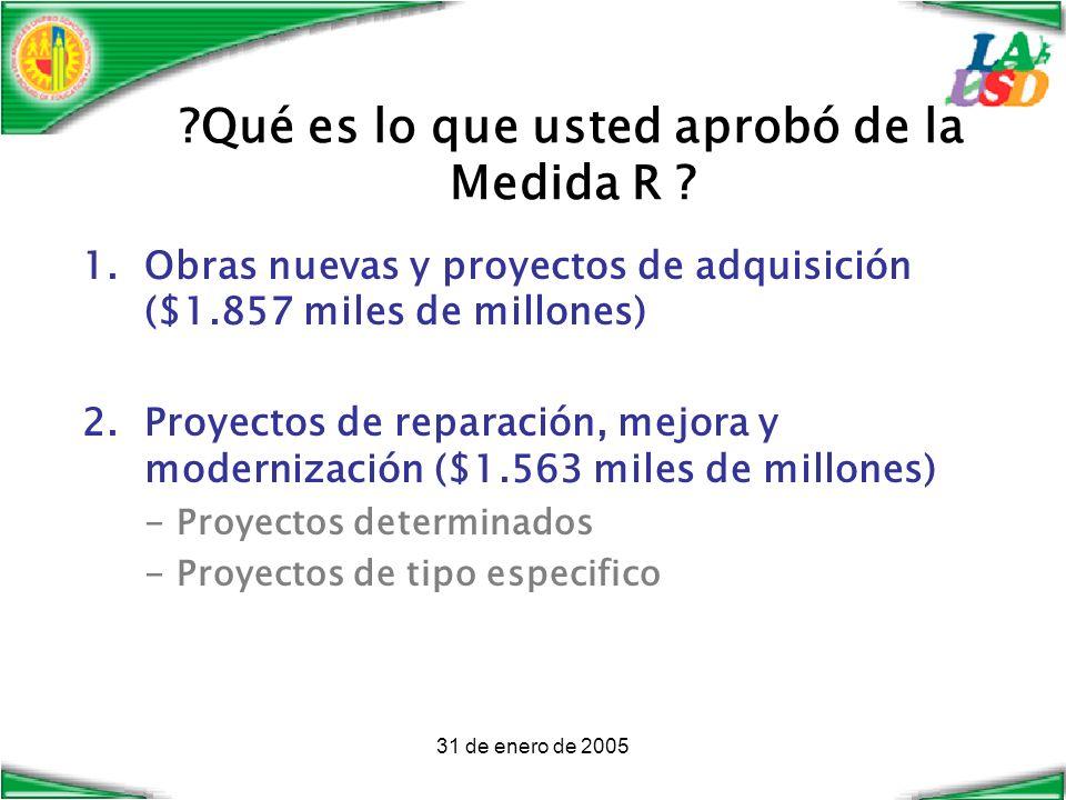 31 de enero de 2005 ?Qué es lo que usted aprobó de la Medida R .