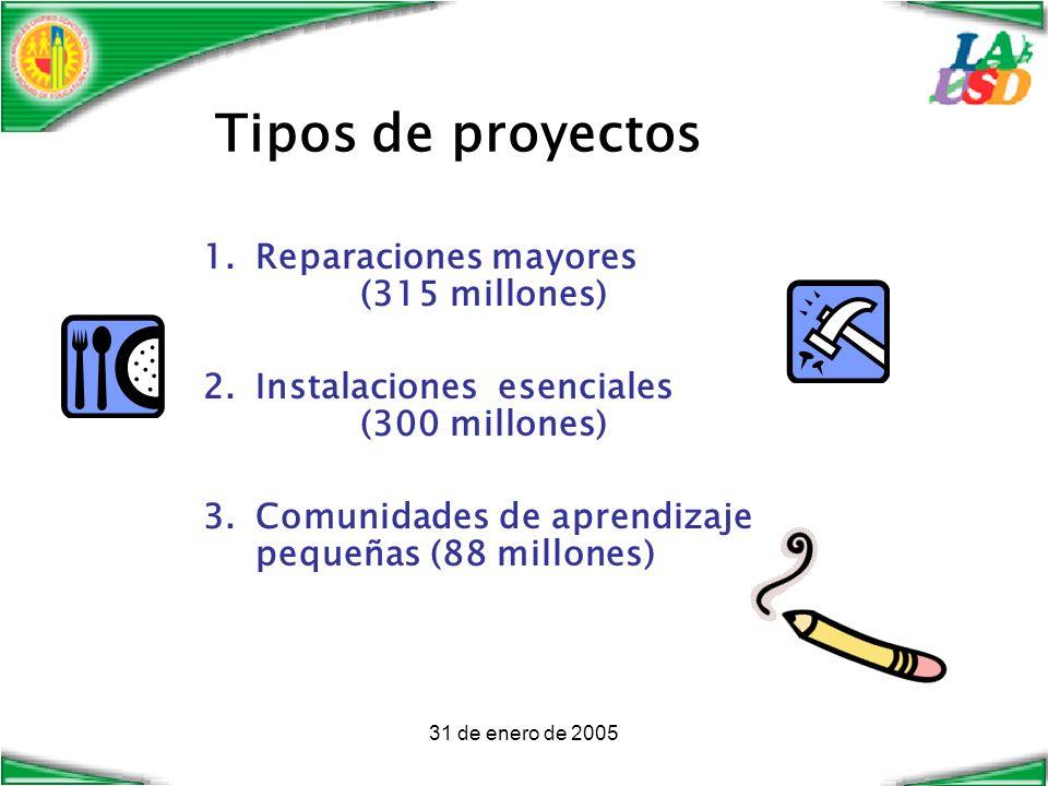 31 de enero de 2005 Tipos de proyectos 1.Reparaciones mayores (315 millones) 2.Instalaciones esenciales (300 millones) 3.Comunidades de aprendizaje pequeñas (88 millones)