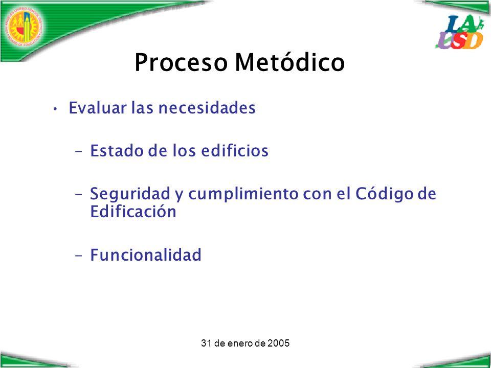 31 de enero de 2005 Proceso Metódico Evaluar las necesidades –Estado de los edificios –Seguridad y cumplimiento con el Código de Edificación –Funcionalidad