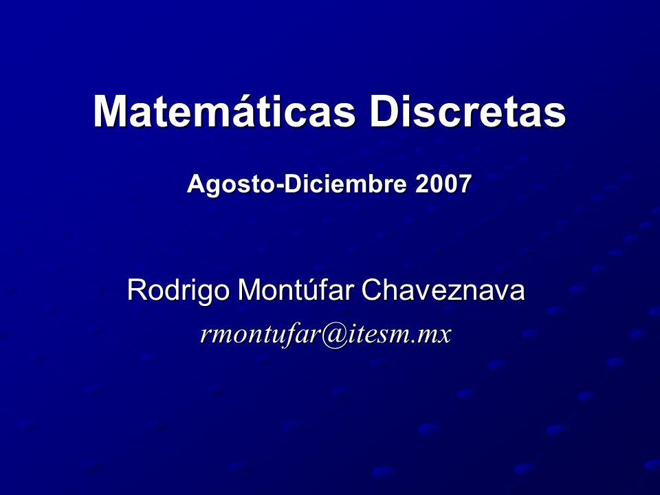 Matemáticas Discretas Agosto-Diciembre 2007 Rodrigo Montúfar Chaveznava rmontufar@itesm.mx