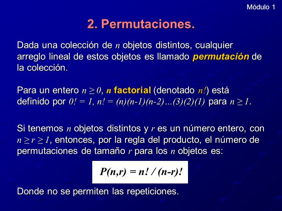 Módulo 1 2. Permutaciones. Dada una colección de n objetos distintos, cualquier arreglo lineal de estos objetos es llamado permutación de la colección