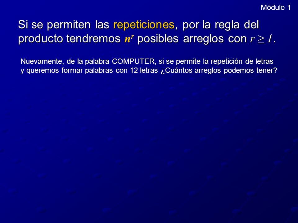 Módulo 1 Si se permiten las repeticiones, por la regla del producto tendremos posibles arreglos con r 1. Si se permiten las repeticiones, por la regla