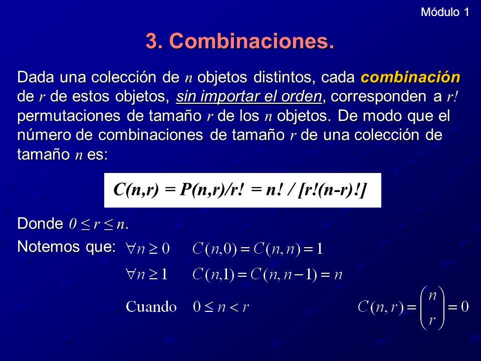 Módulo 1 3. Combinaciones. Dada una colección de n objetos distintos, cada combinación de r de estos objetos, sin importar el orden, corresponden a r!