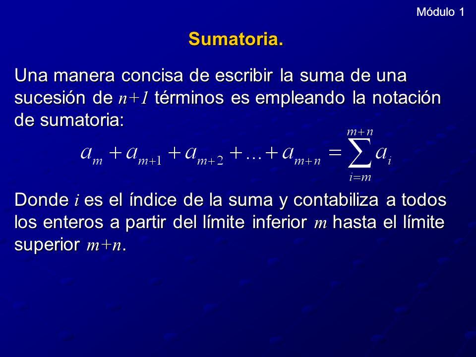 Módulo 1 Sumatoria. Una manera concisa de escribir la suma de una sucesión de n+1 términos es empleando la notación de sumatoria: Donde i es el índice