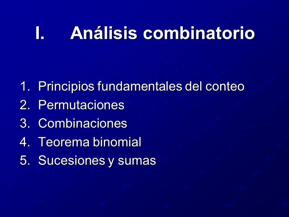 I.Análisis combinatorio 1.Principios fundamentales del conteo 2.Permutaciones 3.Combinaciones 4.Teorema binomial 5.Sucesiones y sumas