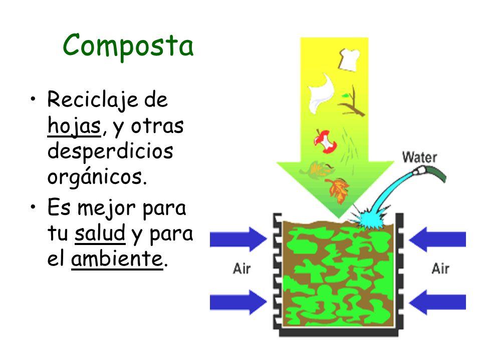Composta Reciclaje de hojas, y otras desperdicios orgánicos.