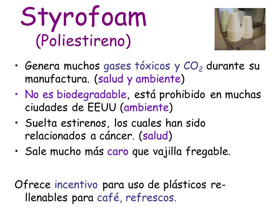 Styrofoam (Poliestireno) Genera muchos gases tóxicos y CO 2 durante su manufactura.