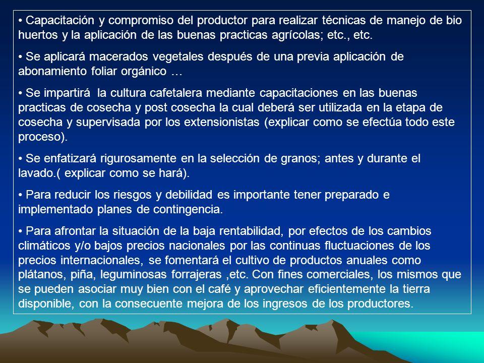 Capacitación y compromiso del productor para realizar técnicas de manejo de bio huertos y la aplicación de las buenas practicas agrícolas; etc., etc.