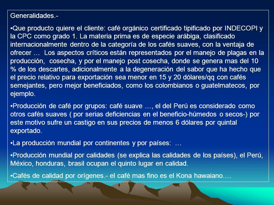 Generalidades.- Que producto quiere el cliente: café orgánico certificado tipificado por INDECOPI y la CPC como grado 1. La materia prima es de especi