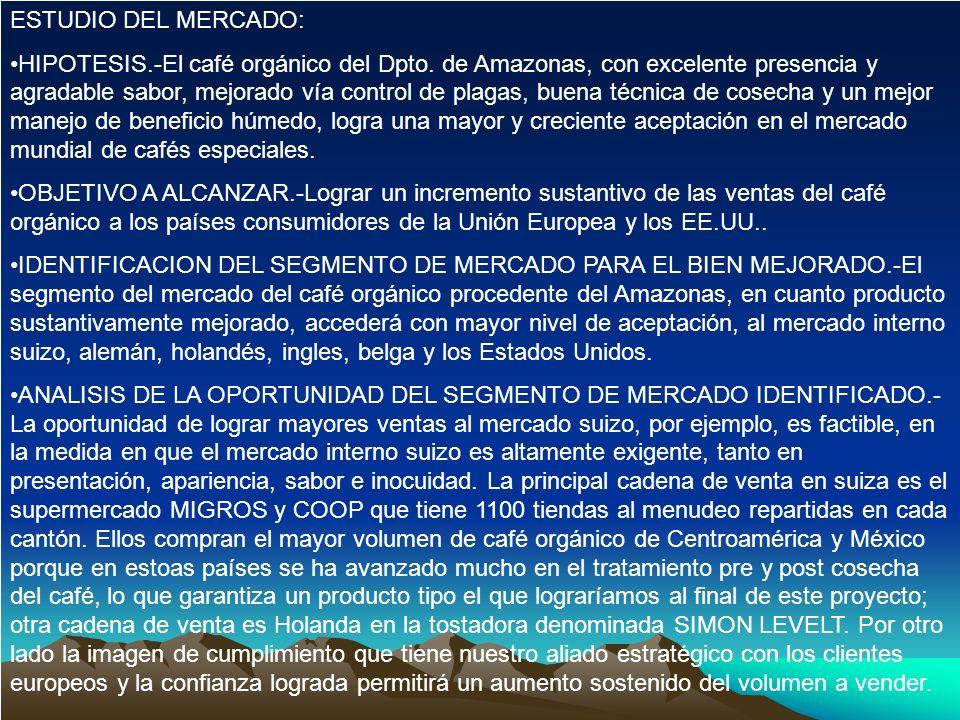 ESTUDIO DEL MERCADO: HIPOTESIS.-El café orgánico del Dpto. de Amazonas, con excelente presencia y agradable sabor, mejorado vía control de plagas, bue