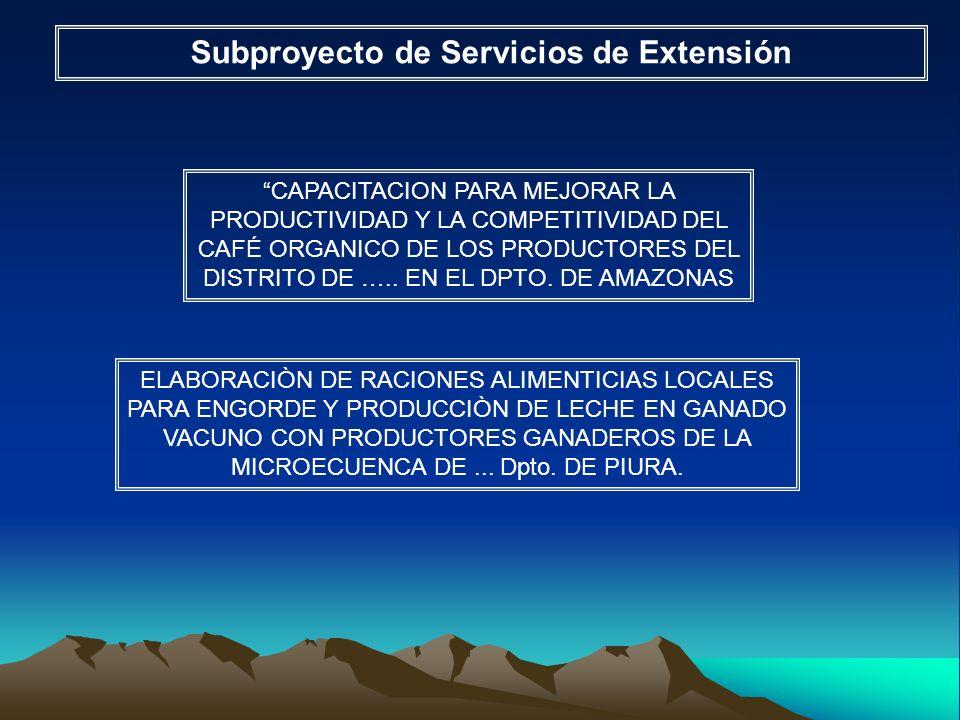 Subproyecto de Servicios de Extensión CAPACITACION PARA MEJORAR LA PRODUCTIVIDAD Y LA COMPETITIVIDAD DEL CAFÉ ORGANICO DE LOS PRODUCTORES DEL DISTRITO