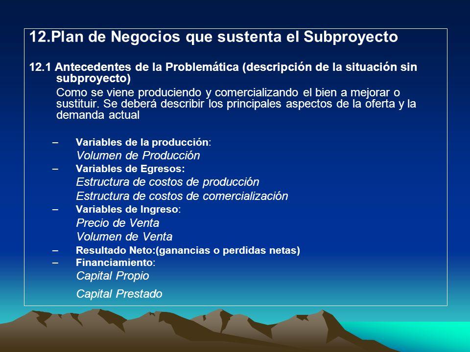 12.Plan de Negocios que sustenta el Subproyecto 12.1 Antecedentes de la Problemática (descripción de la situación sin subproyecto) Como se viene produ