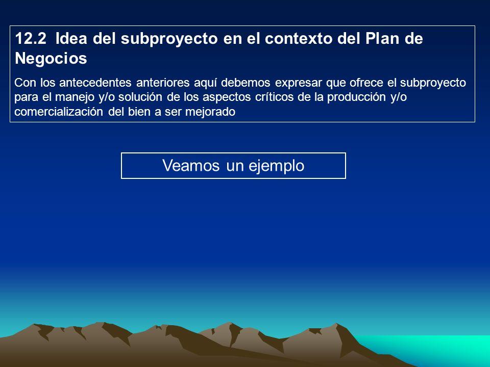 12.2 Idea del subproyecto en el contexto del Plan de Negocios Con los antecedentes anteriores aquí debemos expresar que ofrece el subproyecto para el