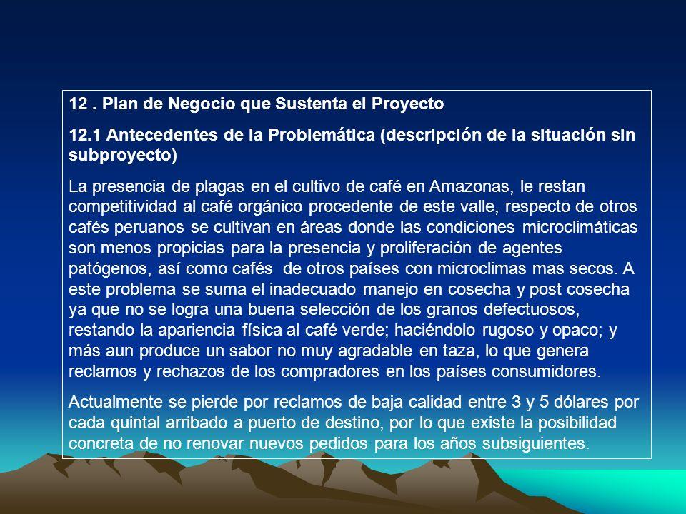 12. Plan de Negocio que Sustenta el Proyecto 12.1 Antecedentes de la Problemática (descripción de la situación sin subproyecto) La presencia de plagas