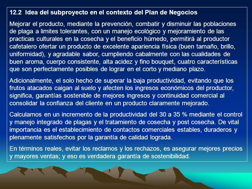 12.2 Idea del subproyecto en el contexto del Plan de Negocios Mejorar el producto, mediante la prevención, combatir y disminuir las poblaciones de pla