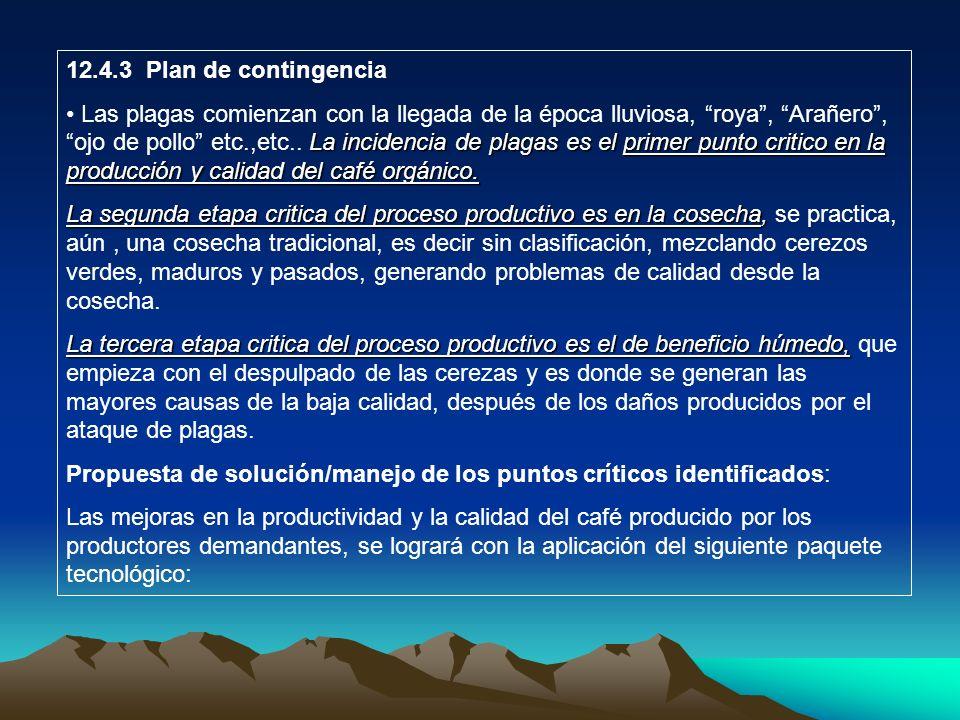 12.4.3 Plan de contingencia La incidencia de plagas es el primer punto critico en la producción y calidad del café orgánico. Las plagas comienzan con