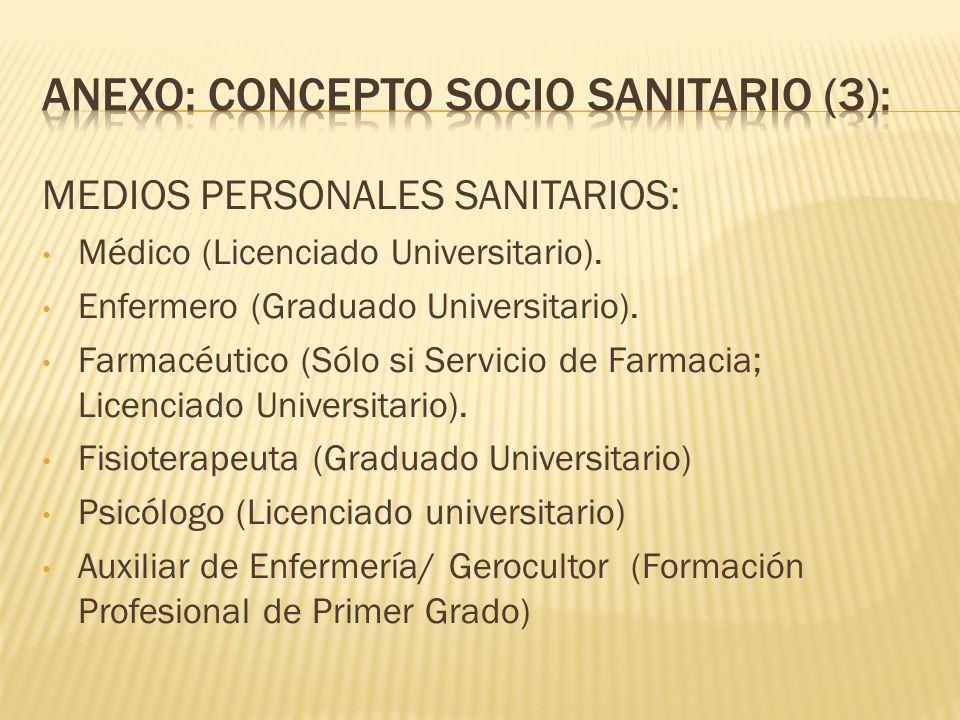 MEDIOS PERSONALES SANITARIOS: Médico (Licenciado Universitario). Enfermero (Graduado Universitario). Farmacéutico (Sólo si Servicio de Farmacia; Licen