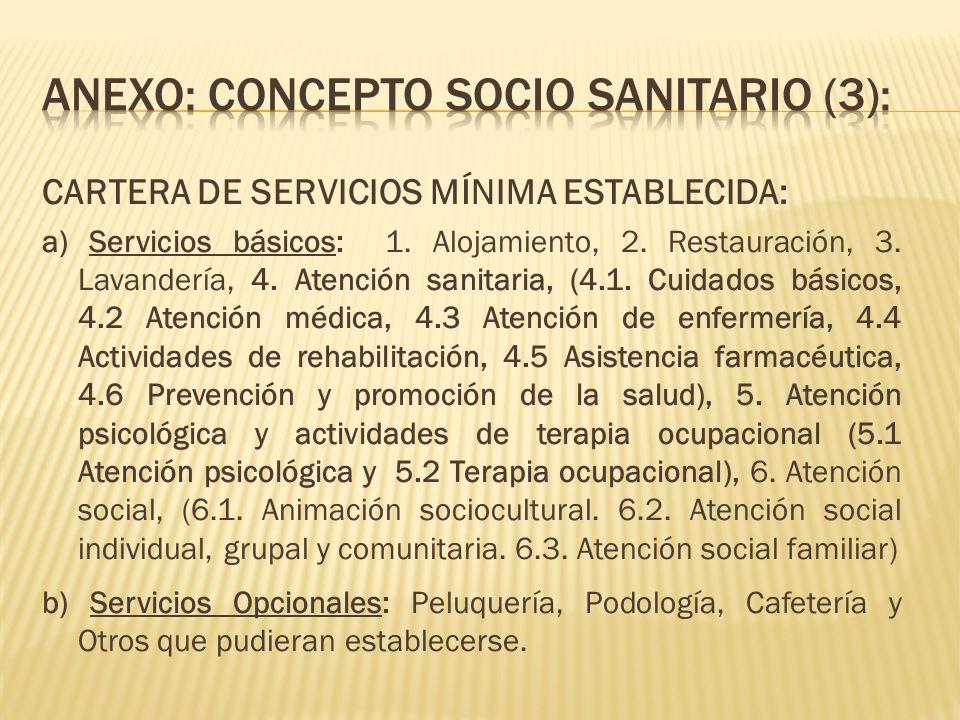 CARTERA DE SERVICIOS MÍNIMA ESTABLECIDA: a) Servicios básicos: 1. Alojamiento, 2. Restauración, 3. Lavandería, 4. Atención sanitaria, (4.1. Cuidados b