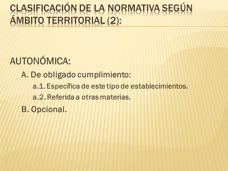 AUTONÓMICA: A. De obligado cumplimiento: a.1. Específica de este tipo de establecimientos. a.2. Referida a otras materias. B. Opcional.