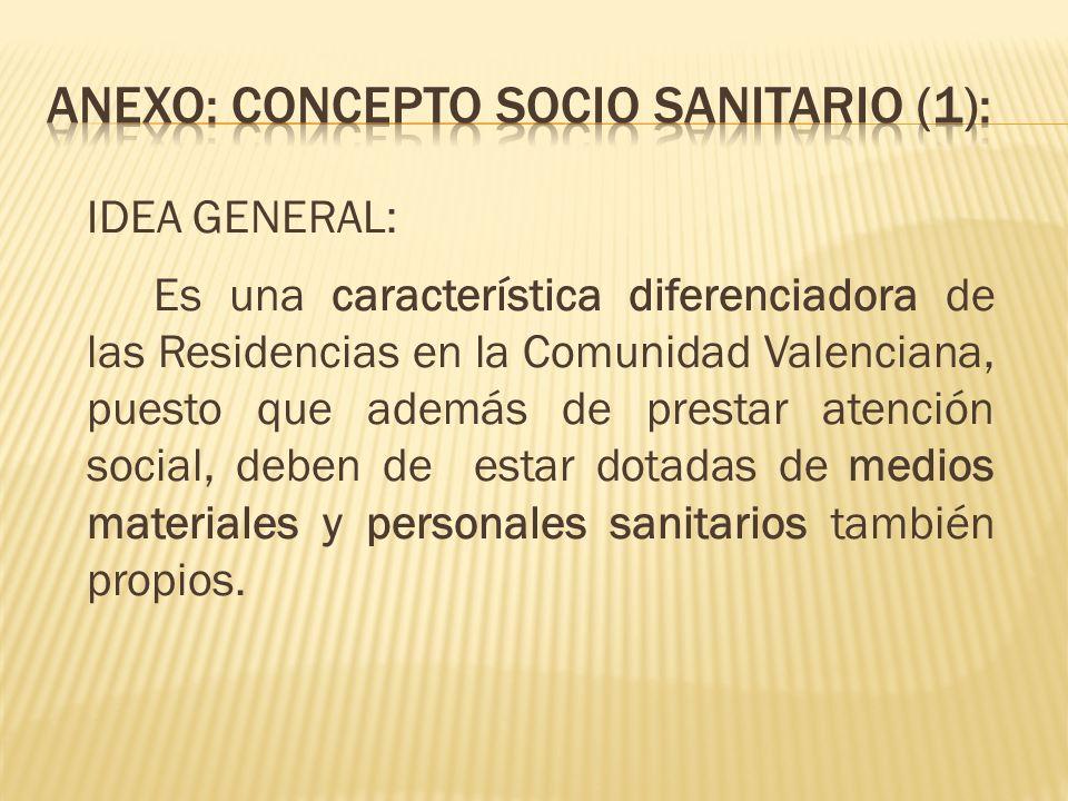 IDEA GENERAL: Es una característica diferenciadora de las Residencias en la Comunidad Valenciana, puesto que además de prestar atención social, deben