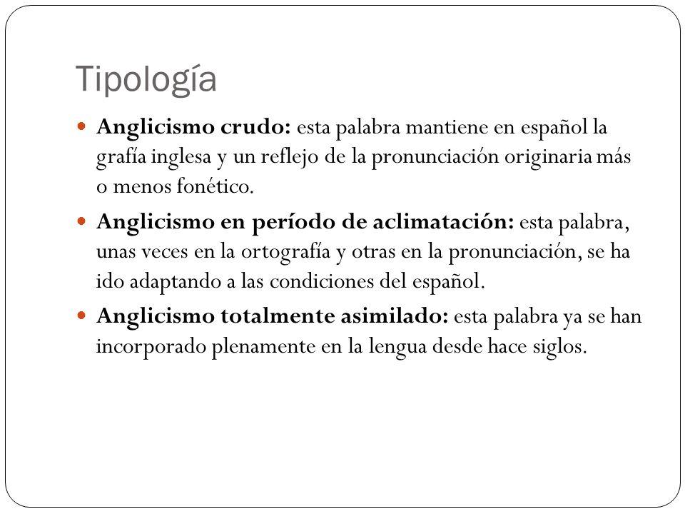Tipología Anglicismo crudo: esta palabra mantiene en español la grafía inglesa y un reflejo de la pronunciación originaria más o menos fonético. Angli