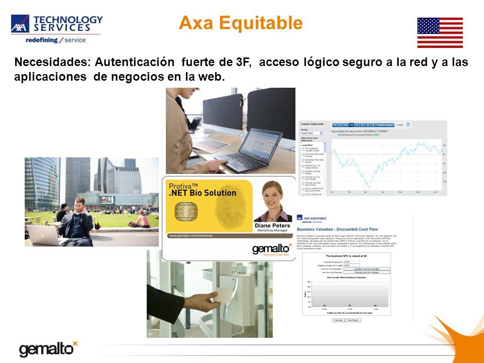 Axa Equitable Necesidades: Autenticación fuerte de 3F, acceso lógico seguro a la red y a las aplicaciones de negocios en la web.