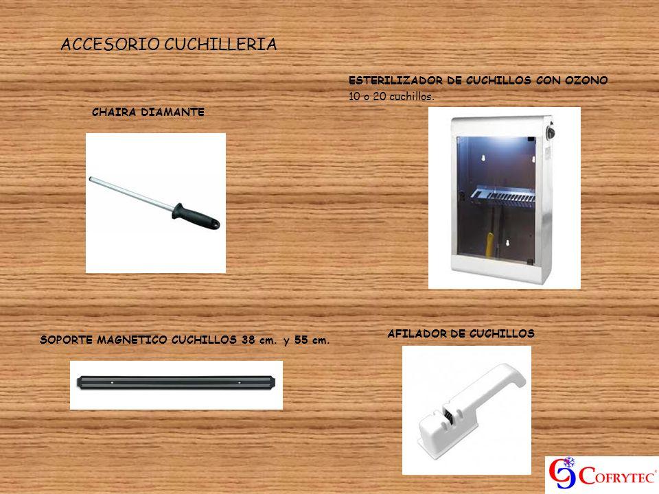 ACCESORIO CUCHILLERIA ESTERILIZADOR DE CUCHILLOS CON OZONO 10 o 20 cuchillos. AFILADOR DE CUCHILLOS SOPORTE MAGNETICO CUCHILLOS 38 cm. y 55 cm. CHAIRA