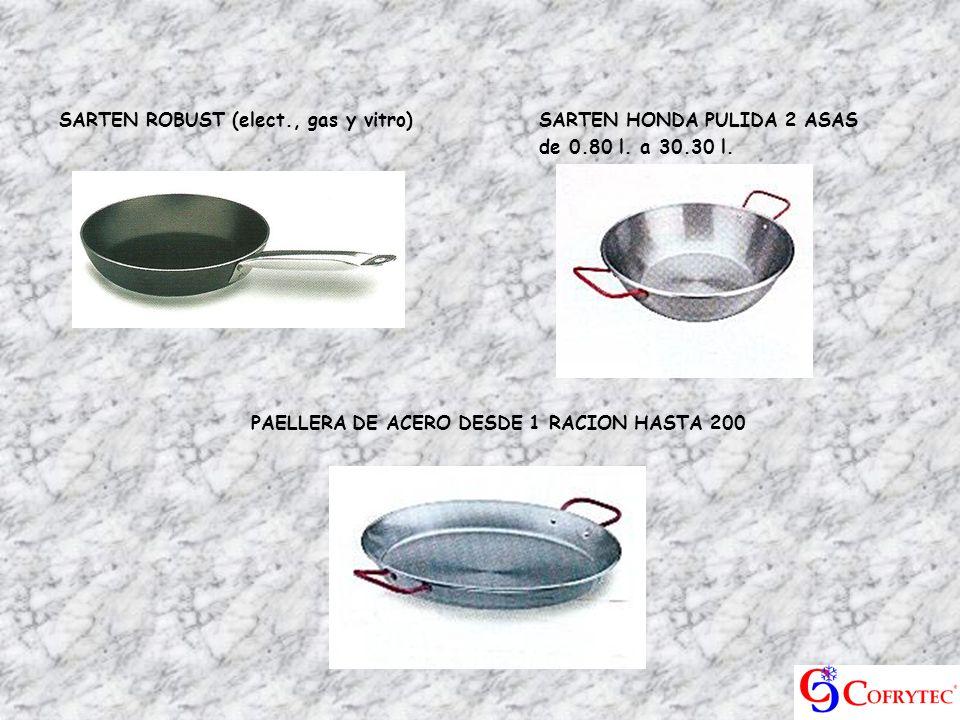 SARTEN ROBUST (elect., gas y vitro)SARTEN HONDA PULIDA 2 ASAS de 0.80 l. a 30.30 l. PAELLERA DE ACERO DESDE 1 RACION HASTA 200