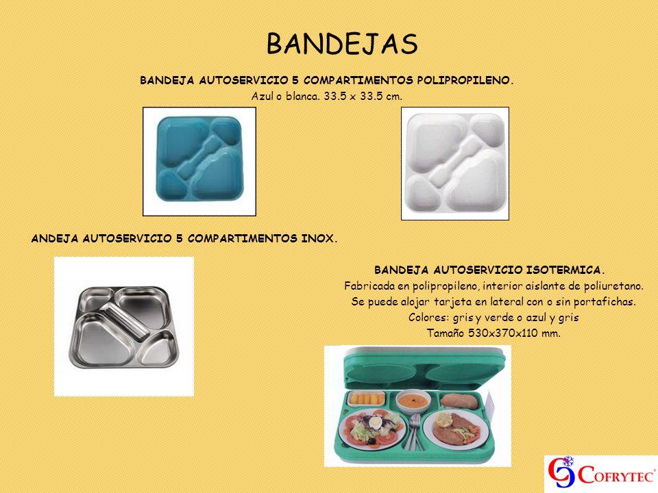 BANDEJAS BANDEJA AUTOSERVICIO 5 COMPARTIMENTOS POLIPROPILENO. Azul o blanca. 33.5 x 33.5 cm. ANDEJA AUTOSERVICIO 5 COMPARTIMENTOS INOX. BANDEJA AUTOSE
