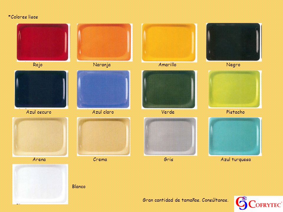 *Colores lisos RojoNaranja Amarillo Negro Azul oscuro Azul claro Verde Pistacho ArenaCrema Gris Azul turquesa Blanco Gran cantidad de tamaños. Consúlt
