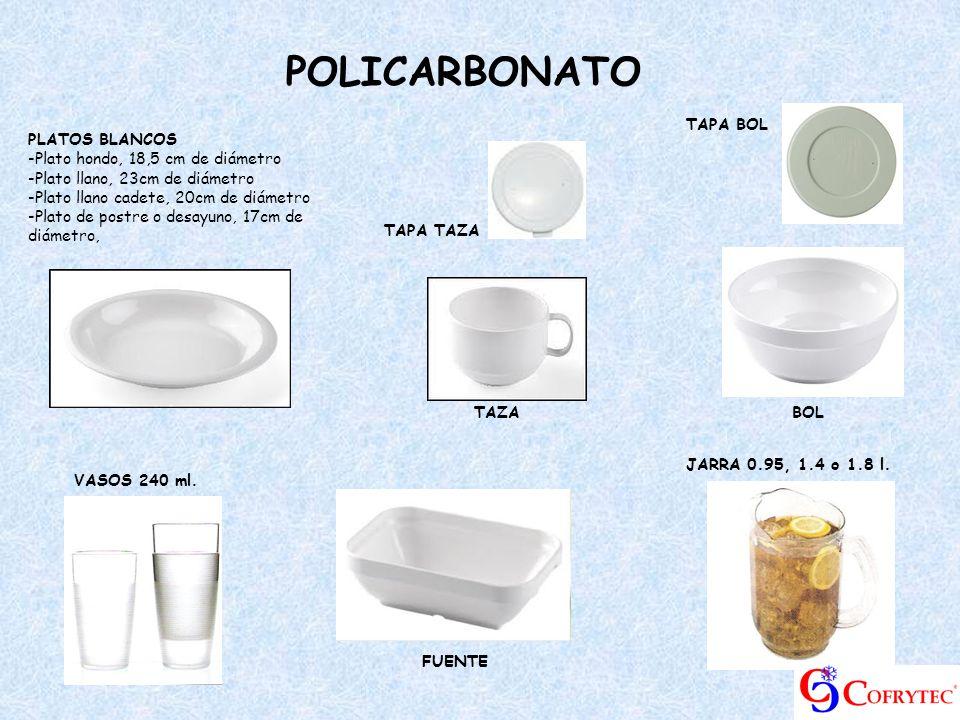 PLATOS BLANCOS -Plato hondo, 18,5 cm de diámetro -Plato llano, 23cm de diámetro -Plato llano cadete, 20cm de diámetro -Plato de postre o desayuno, 17c
