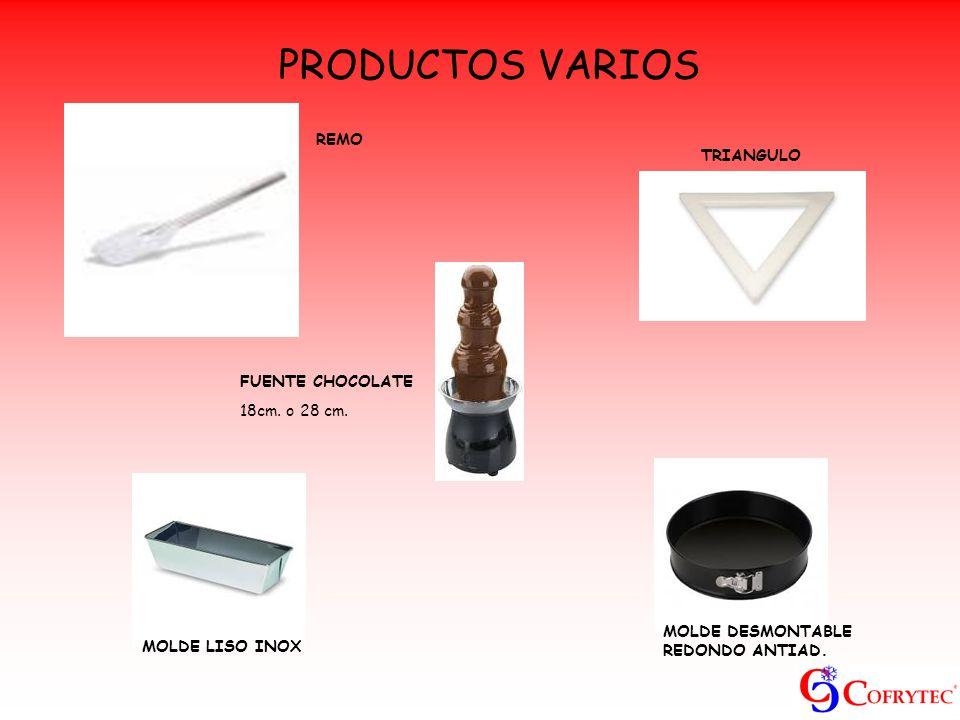 PRODUCTOS VARIOS REMO TRIANGULO FUENTE CHOCOLATE 18cm. o 28 cm. MOLDE LISO INOX MOLDE DESMONTABLE REDONDO ANTIAD.